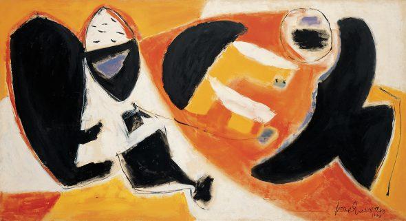 José Guerrero, Black Cries, 1953, óleo sobre lienzo, 130,5 x 238 cm, Colección Lisa Guerrero. Depositado en el Museo Nacional Centro de Arte Reina Sofía, MNCARS, Madrid.