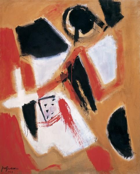José Guerrero, Tierra roja, 1955, óleo sobre lienzo, 174 x 142 cm, Colección Tony Guerrero. Depositado en el Museo Nacional Centro de Arte Reina Sofía, MNCARS, Madrid.