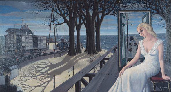 Paul Delvaux. 'Las sombras', 1965 (Les Ombres) Óleo sobre lienzo. 125 x 231 cm Colección privada.