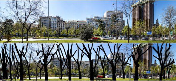 Panorámicas realizadas por José Manuel Ballester. Arriba, el estado en el que ha quedado este tramo del Paseo del Prado y abajo, una representación de cómo era.