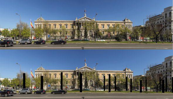 El estado en el que ha quedado la fachada de la Biblioteca Nacional. Abajo, como columnas, los árboles que se han talado. Foto: José Manuel Ballester.