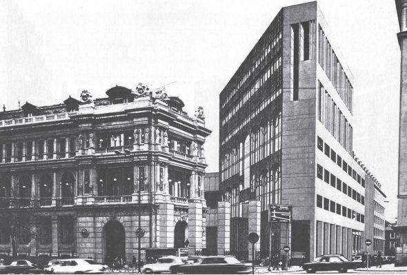 Proyecto para la ampliación del Banco de España de José Antonio Corrales y Ramón Vázquez Molezún. (1978)