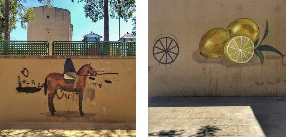 El jinete sin cabeza, la rueda y los limones de Escif en la Font de la Pólvora. Fotos: Manuel Cuéllar.