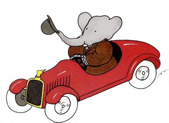 El elefante Babar en su coche rojo.