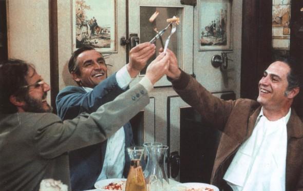 Un fotograma de la película Tres hombres y una mujer de Ettore Scola.
