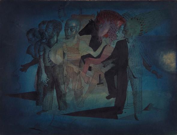 Antoni Tápies. 'Hombres y caballos', 1951. Acuarela y tinta sobre papel. Museo Nacional Centro de Arte Reina Sofía.