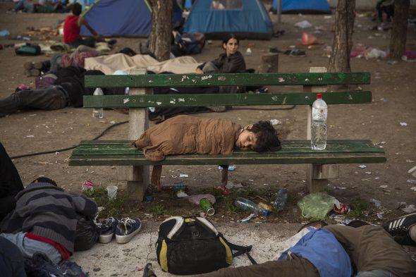 Un niño duerme en el parque Bristol en Belgrado, Serbia. Foto: Olmo Calvo