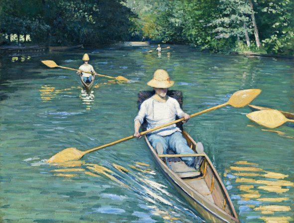 Gustave Caillebotte Piraguas en el río Yerres, 1877 (Skiffs on the River Yerres) Óleo sobre lienzo. 88,9 x 116,2 cm National Gallery of Art, Washington D.C. Colección Mr. and Mrs. Paul Melton