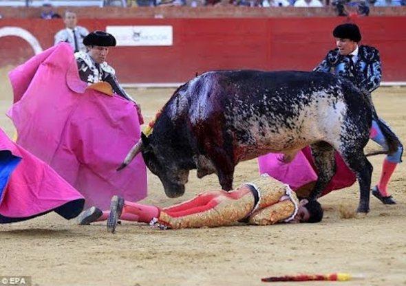 Un momento de la cogida mortal del torero Víctor Barrio.
