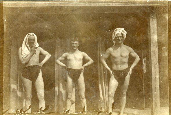Soldados alemanes de la Primera Guerra Mundial después del baño, 1914. (Archivo de Alexis W.)