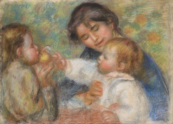 Pierre-Auguste Renoir. Niño con manzana o Gabrielle, Jean Renoir y una niña, hacia 1895-1896. Sra. Léone Cettolin Dauberville.