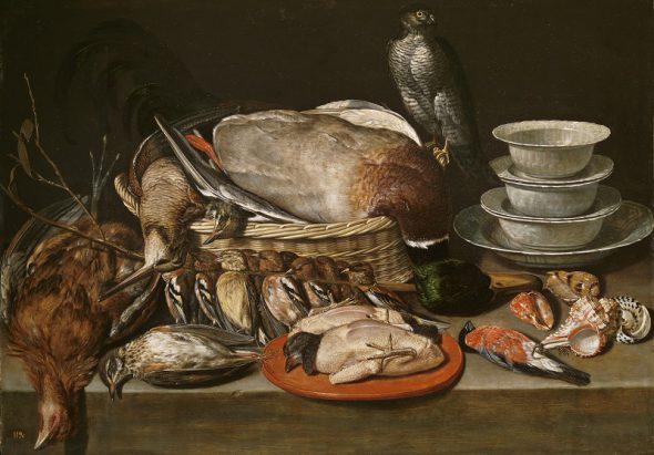 Bodegón con gavilán, aves, porcelana y conchas Clara Peeters Óleo sobre tabla, 52 x 71 cm 1611 Madrid, Museo Nacional del Prado
