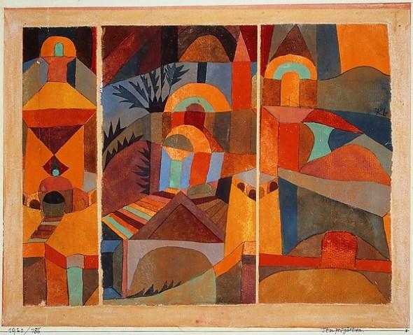 Paul Klee. Gouache y tinta. Tríptico en papel.