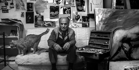 El artista Antonio López en su estudio. Foto: Victoria Iglesias.