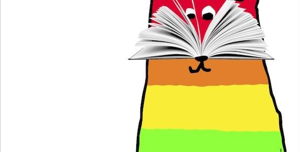 El gato del cartel de la Feria del Libro de Madrid con los colores del arcoíris en homenaje al World Pride que se celebra este año en la capital.