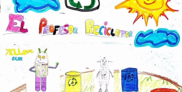 Portada del cuento El profesor reciclator hace brillar a Yellow-Blue.