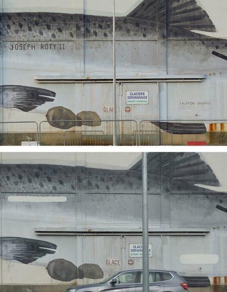 Detalles de la obra de Escif antes y después de la censura.