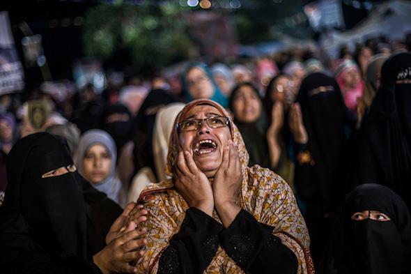 manifestaciones diarias en El Cairo, Egipto, lunes 29 de julio de 2013. (Foto AP / Manu Brabo.