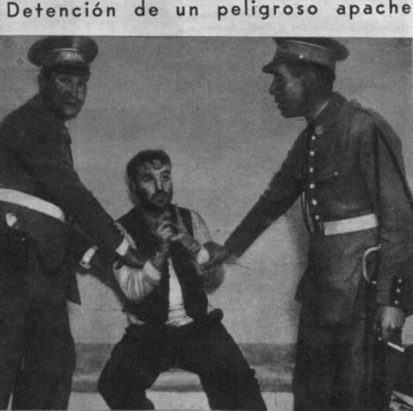 Detención de apache. Publicada en el Periódico Ahora en julio de 1932.
