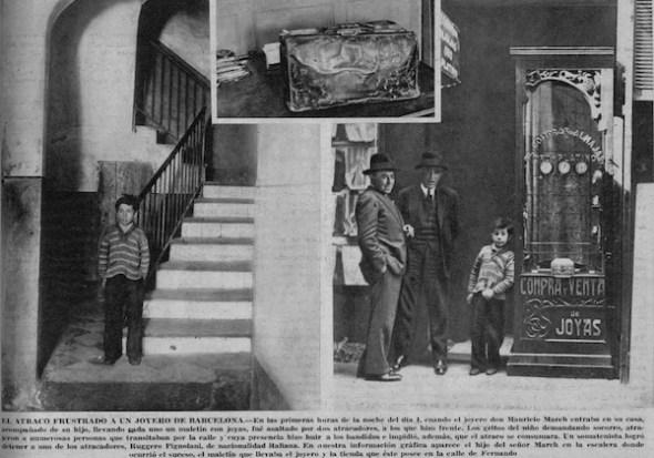 Atraco frustrado a un joyero de Barcelona en 1931.