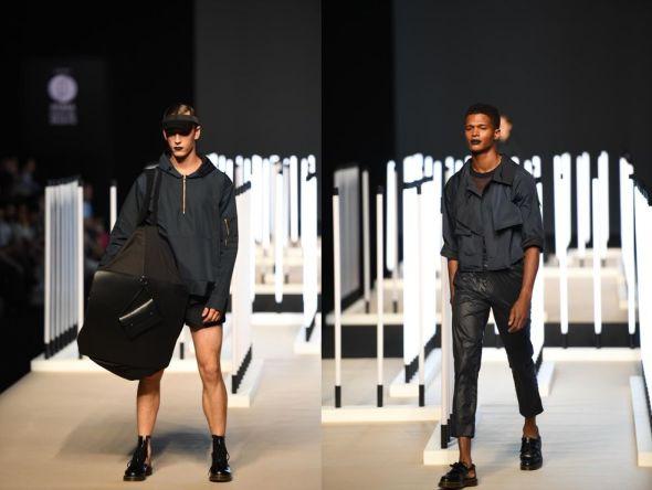 Los colores oscuros, negros y grises dominan en la colección de Juanjo Oliva realizada con materiales reciclados.