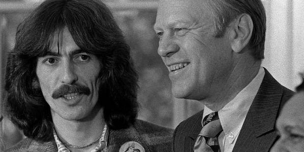 George Harrison con Gerald Ford y Ravi Shankar.