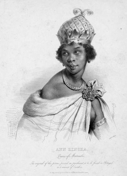 Anne Zingha fue reina de Angola y siempre se negó a someterse a los conquistadores, tratándoles y negociando con ellos en condiciones de igualdad. Ilustración: Biblioteca Pública de Nueva York.
