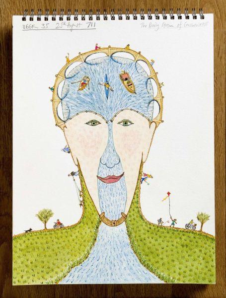 Bobby Baker. Dibujos. 'La enfermedad mental y yo' 1997-2008. Day 399. Foto: Andrew Whittuck, 2009.