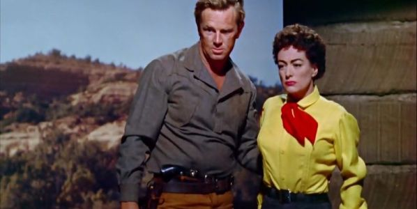 Sterling Hayden y Joan Crawford en un fotograma de Johnny Guitar.