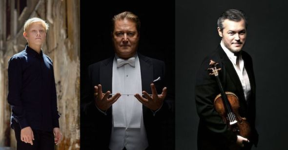 De izquierda a derecha, el pianista Alexander Malofeev, el director de orquesta Alexander Sladkovsky y el violinista Vadim Repin.