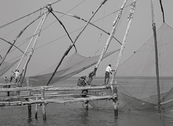 Redes chinas en Cochin, India. Foto: Eduardo Aznar