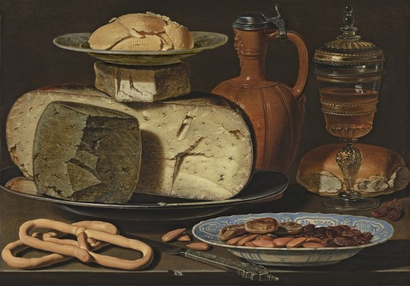 8. Bodegón con quesos, almendras y panecillos Clara Peeters Óleo sobre tabla, 34,5 x 49,5 cm c. 1612 - 1615 Mauritshuis, The Hague, acquired with the support of the Friends of the Mauritshuis Foundation, the Bank Giro Lottery, the Rembrandt Association (thanks to its A. M. Roeters van Lennep Fund, Utrech Rembrandt Circle and Caius Circle) and a private individual, 2012