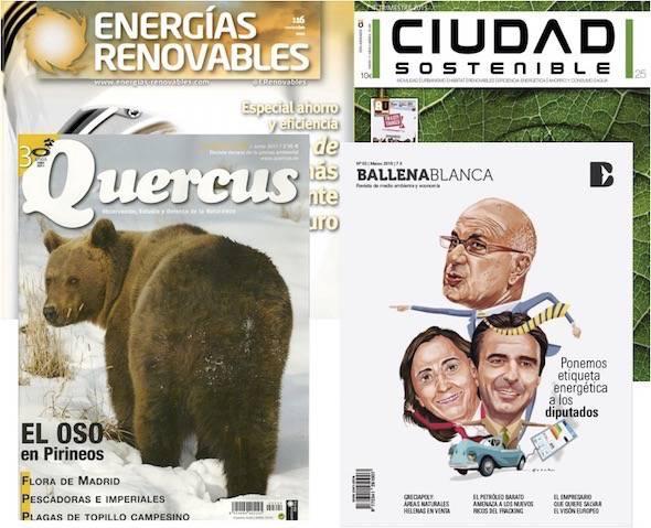 Portadas de las revistas Quercus, Ciudad Sostenible, Ballenablanca y Energías renovables.