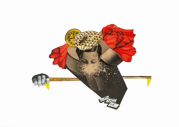 Collage sobre la cocaína de Liliana Peligro.