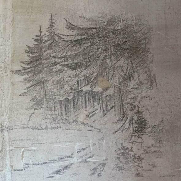Bosque de abetos dibujado por un soldado alemán durante la II Guerra Mundial en el muro de su barracón.