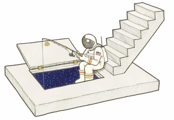 Ilustración de Gorka Olmo titulada 'No pican' para su libro 'Cosas dentro de otras'.