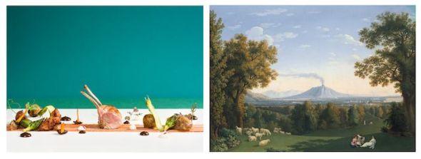 Martín Berasategui ha cocinado el cuadro de Jacob Philipp Hackert. 'Paisaje con el Palacio de Carseta y el Vesubio'.