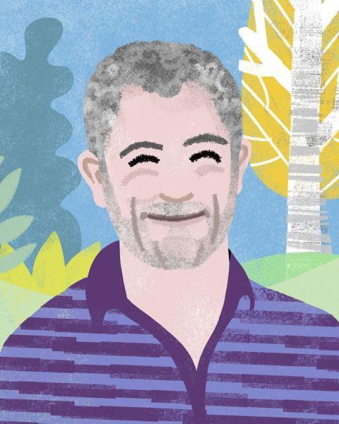 Retrato del autor, Rafa Ruiz, realizado por la ilustradora de los libros de Toletis, Elena Hormiga.