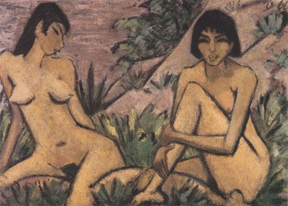 8. 'Dos desnudos femeninos en un paisaje'. Otto Mueller. Hacia 1926. © Museo Nacional Thyssen-Bornemisza, Madrid.