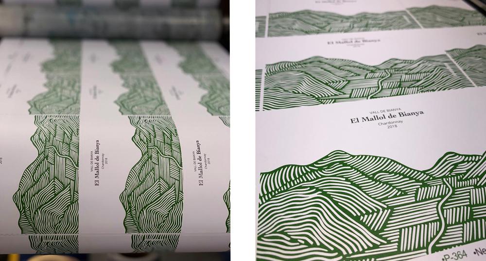 Labeling etiqueta vino El Mallol de Binaya Anna Ruiz diseñadora, ilustradora y printmaker