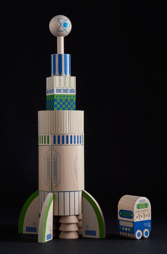Juego bloques de madera espacio galaxia astronautas cohete