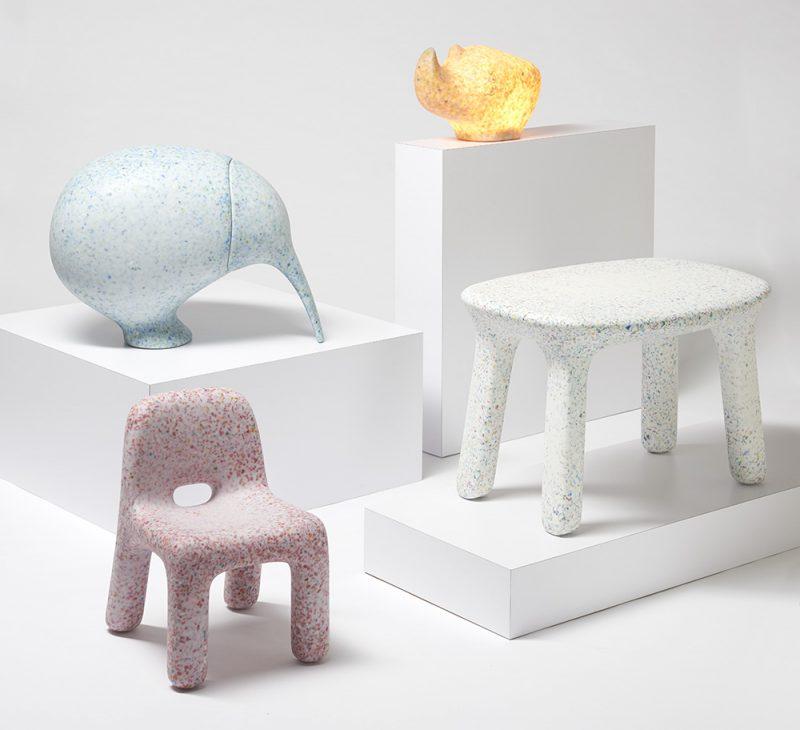 Ecobirdy muebles para niños hechos con plástico reciclado de juguetes