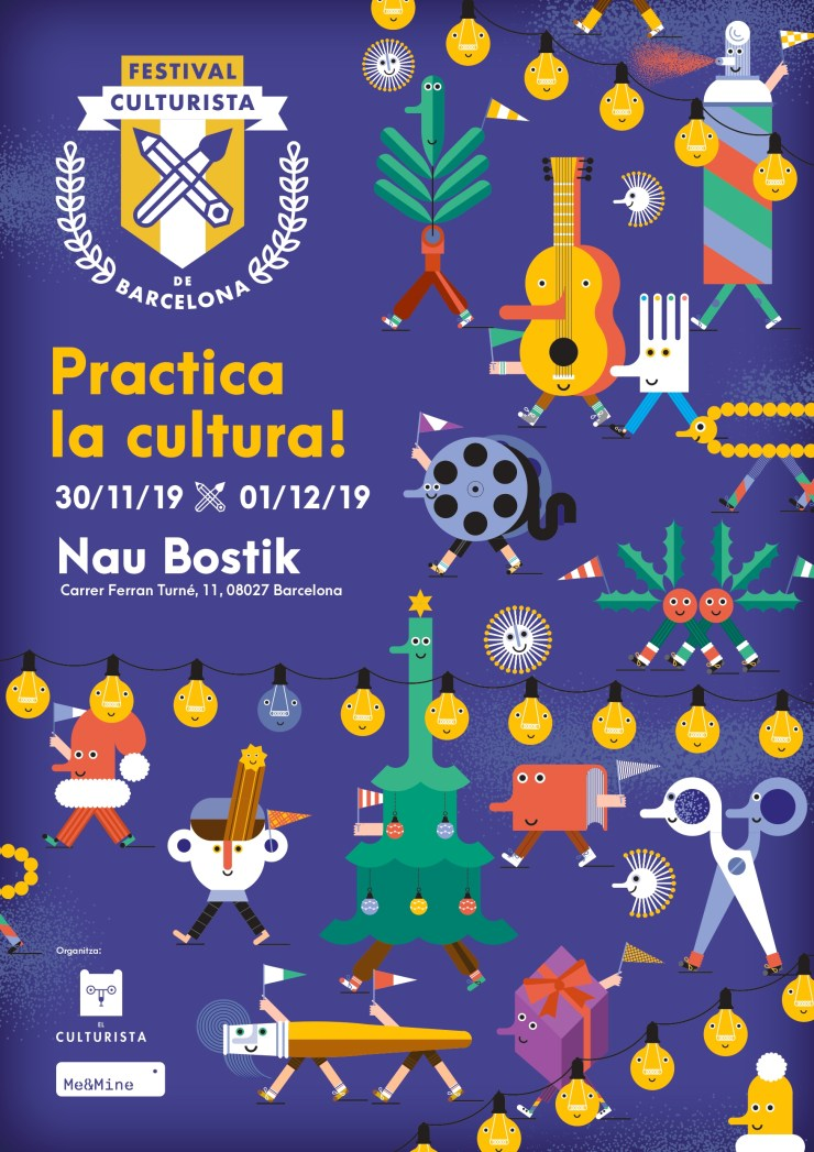 Cartel Festival Culturista de Barcelona Nau Bostik Ilustración Joana Casals Pelegrí
