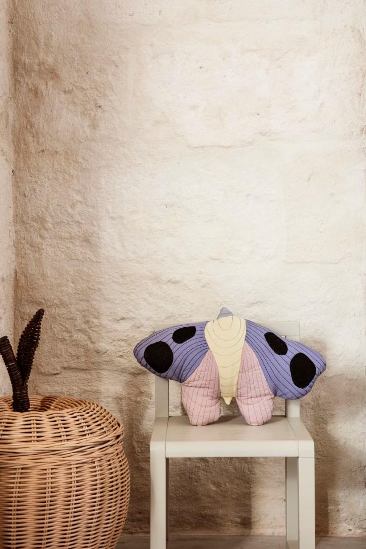 Ferm Living Kids SS20. Novedades. Estilo nórdico para niños. Cojín mariposa