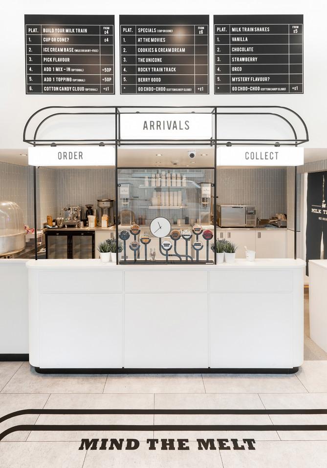 Milk Train heladería Art Déco en Covent Garden, Londres. Muy instagrameable. Mostrador