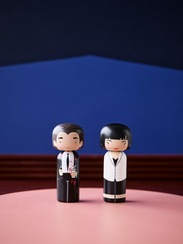 Tarantino Kokeshi dolls by Lucie Kaas. Vincent Vega y Mia Wallace