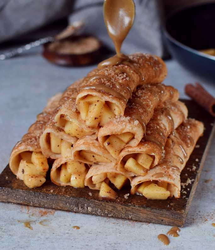 apple cinnamon crepes vegan recipe with creamy caramel sauce