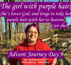 Girl with purple hair in heaven?