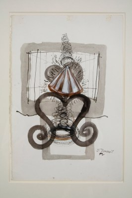 """Elba Damast, """"Costa Rica Poem 5,"""" 1993 Acrylic and ink on paper 21"""" x 15"""" Collection of the family"""