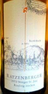 """Ratzenberger St.Jost """"S"""" riesling trocken 2012"""